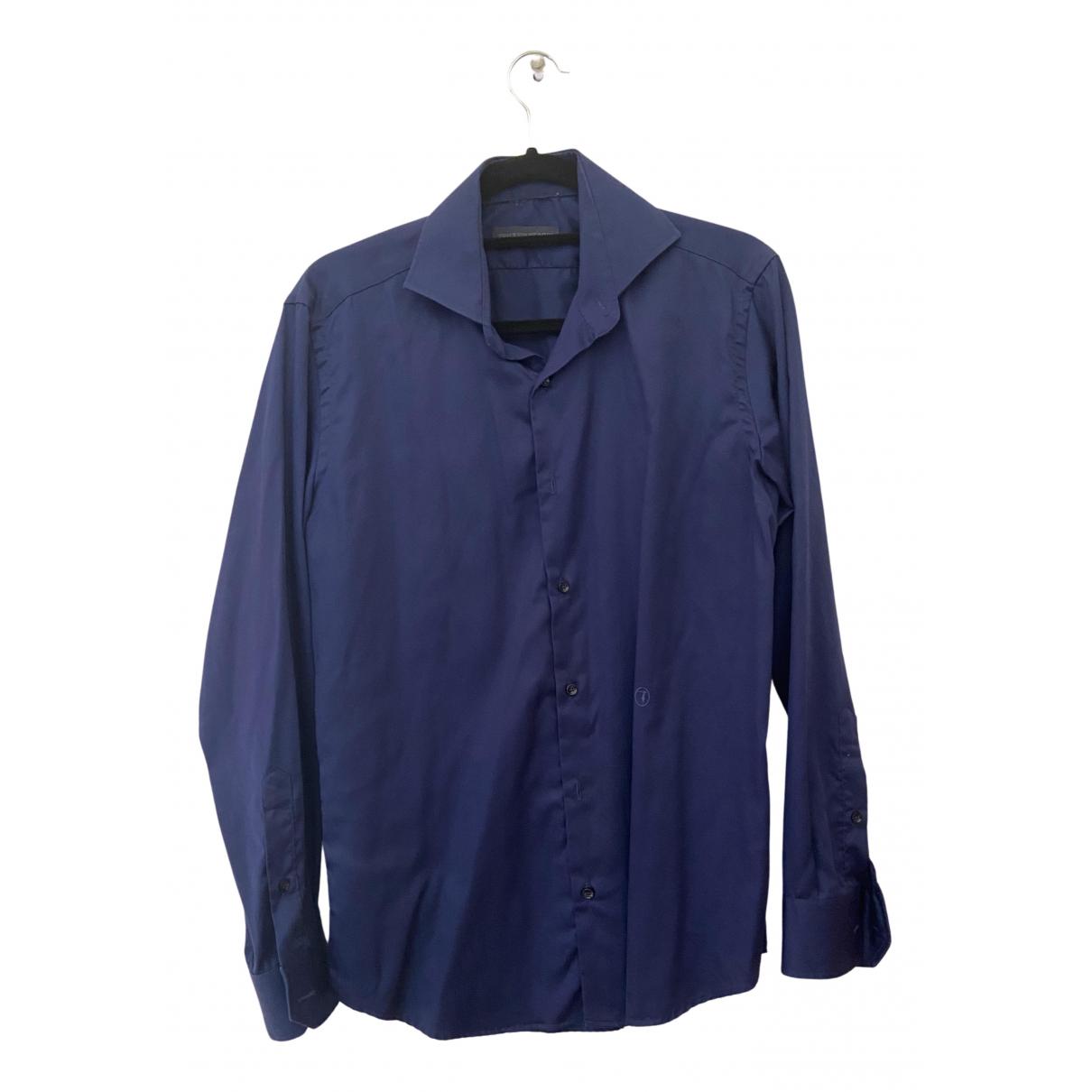 Trussardi - Chemises   pour homme en coton - bleu