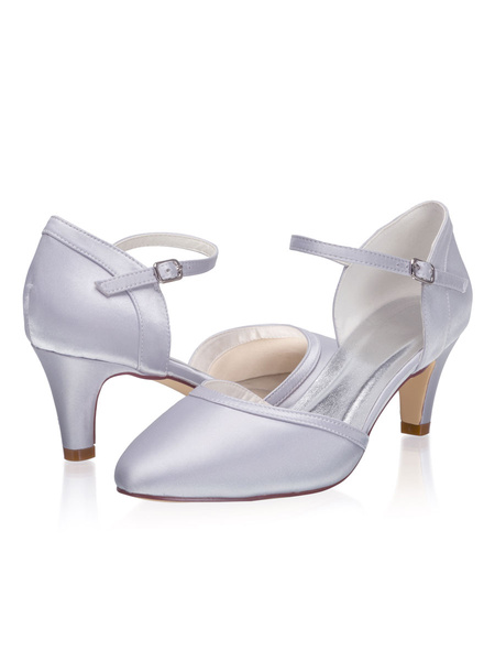 Milanoo D\'orsay Wedding Shoes Satin Silver Round Toe Kitten Heel 2.4 Bridal Shoes