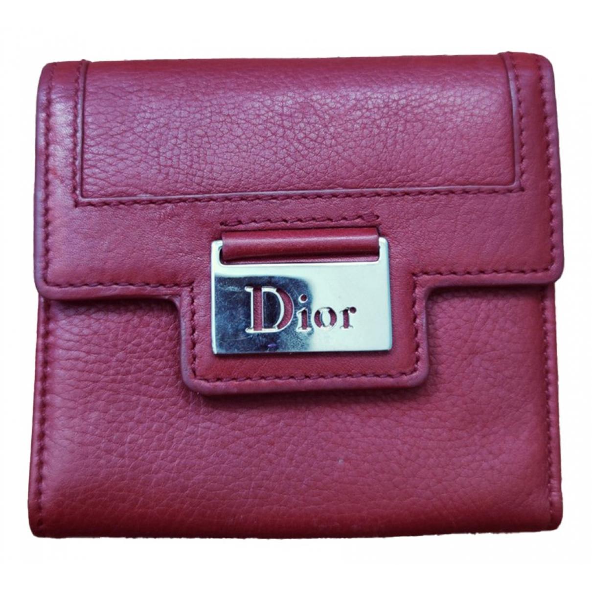 Dior - Portefeuille   pour femme en cuir - rouge