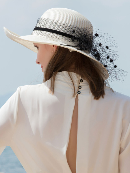 Milanoo Women Vintage Hat Ecru White Dot Net Retro Costume Accessory