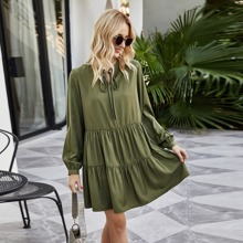 Solid Tie Neck Babydoll Dress