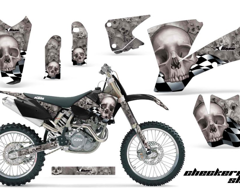 AMR Racing Dirt Bike Graphics Kit Decal Wrap For KTM  SX SXS EXC MXC 2001-2004áCHECKERED SILVER