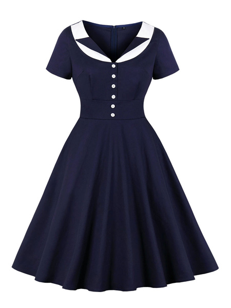 Milanoo Retro Dress 1950s Dark Navy Turndown Collar Color Block Layered Buttons Short Sleeves Swing Dress