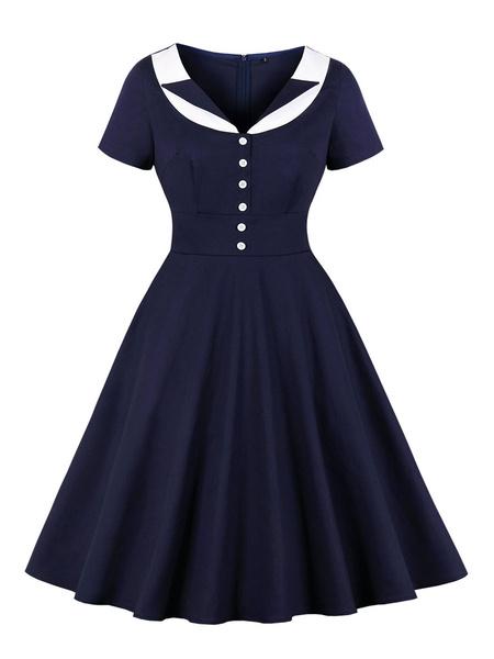 Milanoo Vestido retro 1950 Azul marino oscuro Cuello vuelto Bloque de color Botones en capas Vestido de manga corta con vuelo