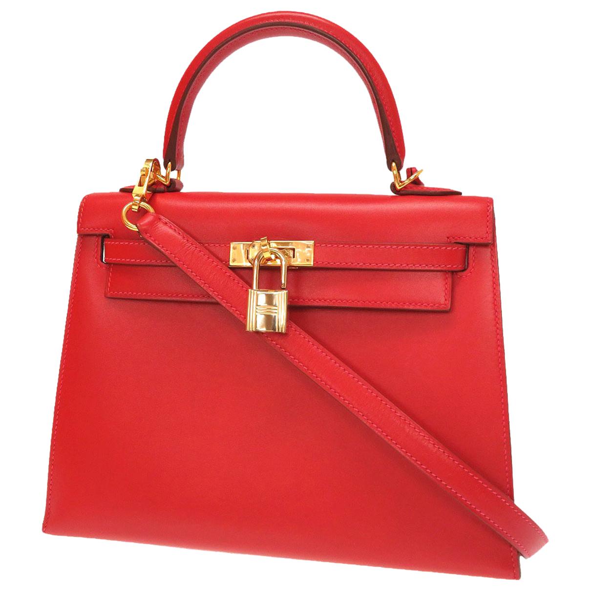 Hermes - Sac a main Kelly 25 pour femme en cuir - rouge