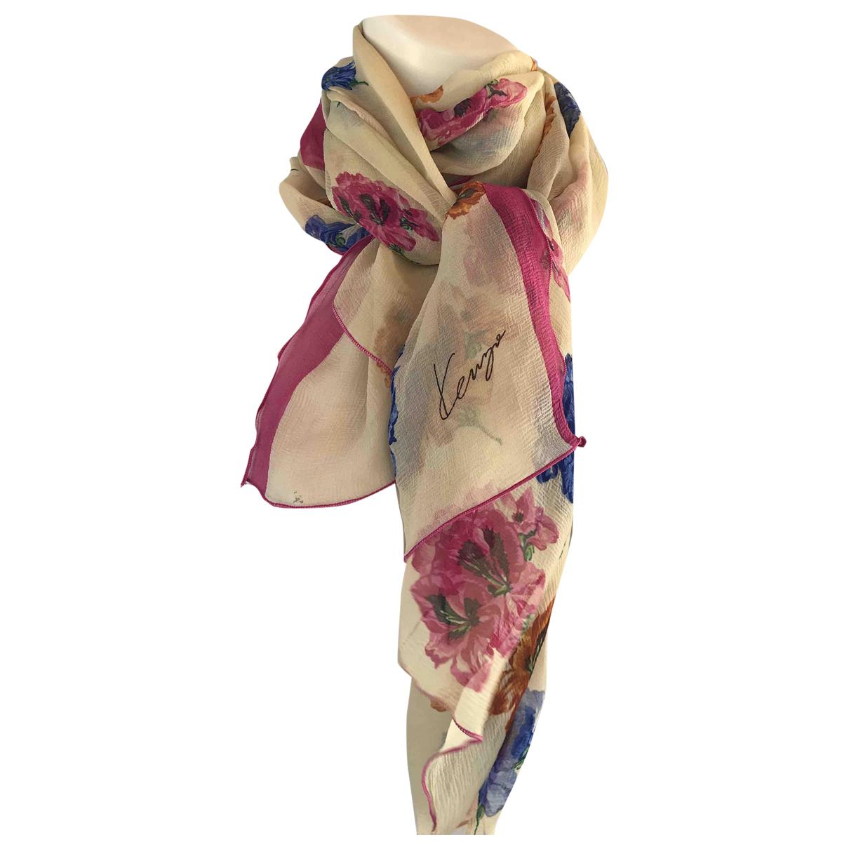 Kenzo - Foulard   pour femme en soie - beige