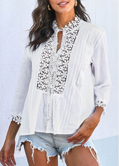 Crinkle Chest Three Quarter Sleeve Lace Panel T Shirt - L
