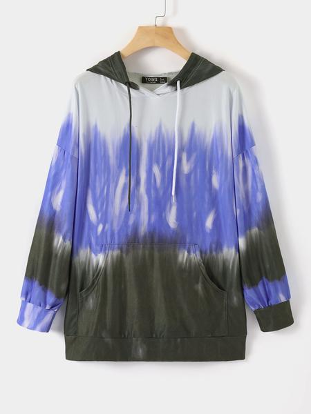 Yoins Elastic Strap Tie Dye Pullover Long Sleeves Hoodie