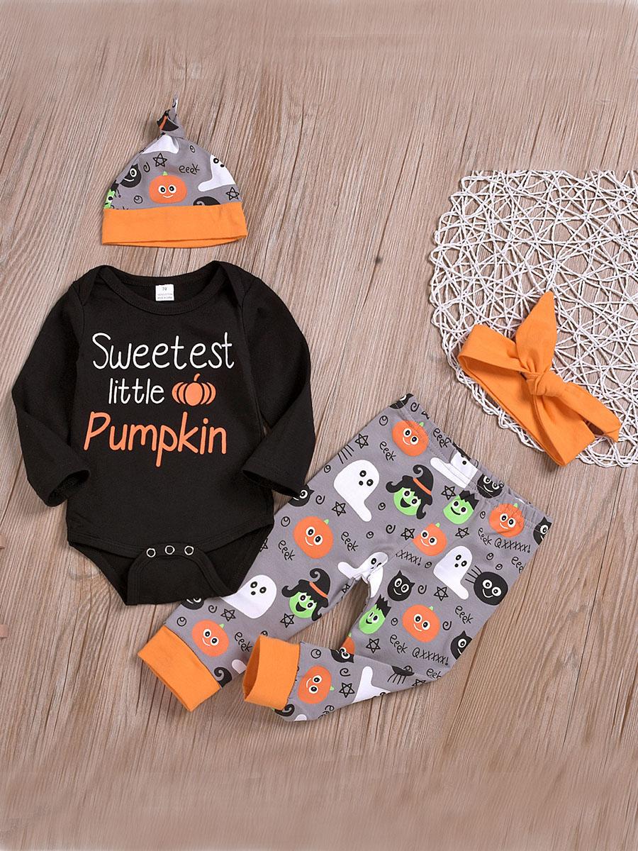 LW lovely Sweet O Neck Print Black Girl Two-piece Pants Set