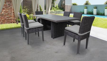 Venice Collection VENICE-DTREC-KIT-6C-GREY Patio Dining Set With 1 Table  6 Side Chairs - Wheat and Grey