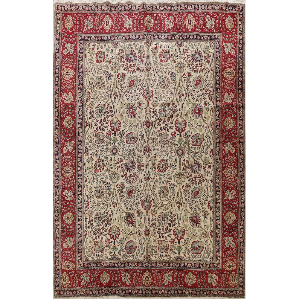 Vintage Floral Tabriz Persian Living Room Area Rug Wool Hand-knotted - 9'7