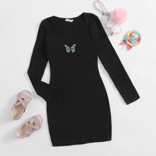 Strick Kleid mit Schmetterling Stickereien