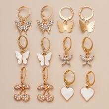 6pairs Heart & Fruit Drop Earrings