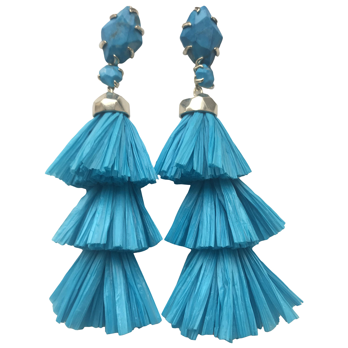Non Signé / Unsigned N Blue Metal Earrings for Women N