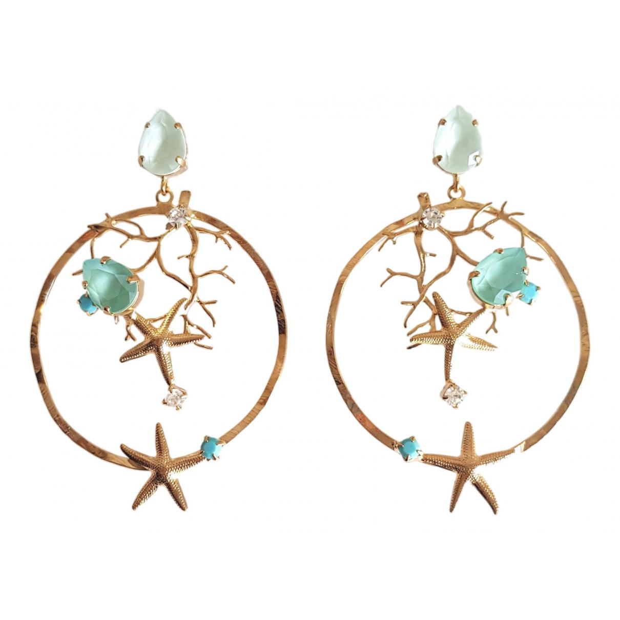 - Boucles doreilles Motifs Coquillages pour femme en metal - turquoise