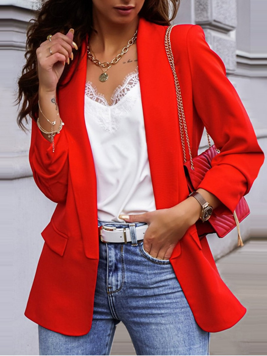 LW lovely Stylish Turn-back Collar Basic Red Blazer