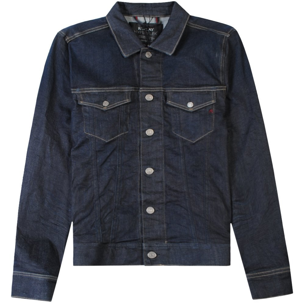 Replay Classic Denim Jacket Navy Blue Colour: BLUE, Size: LARGE