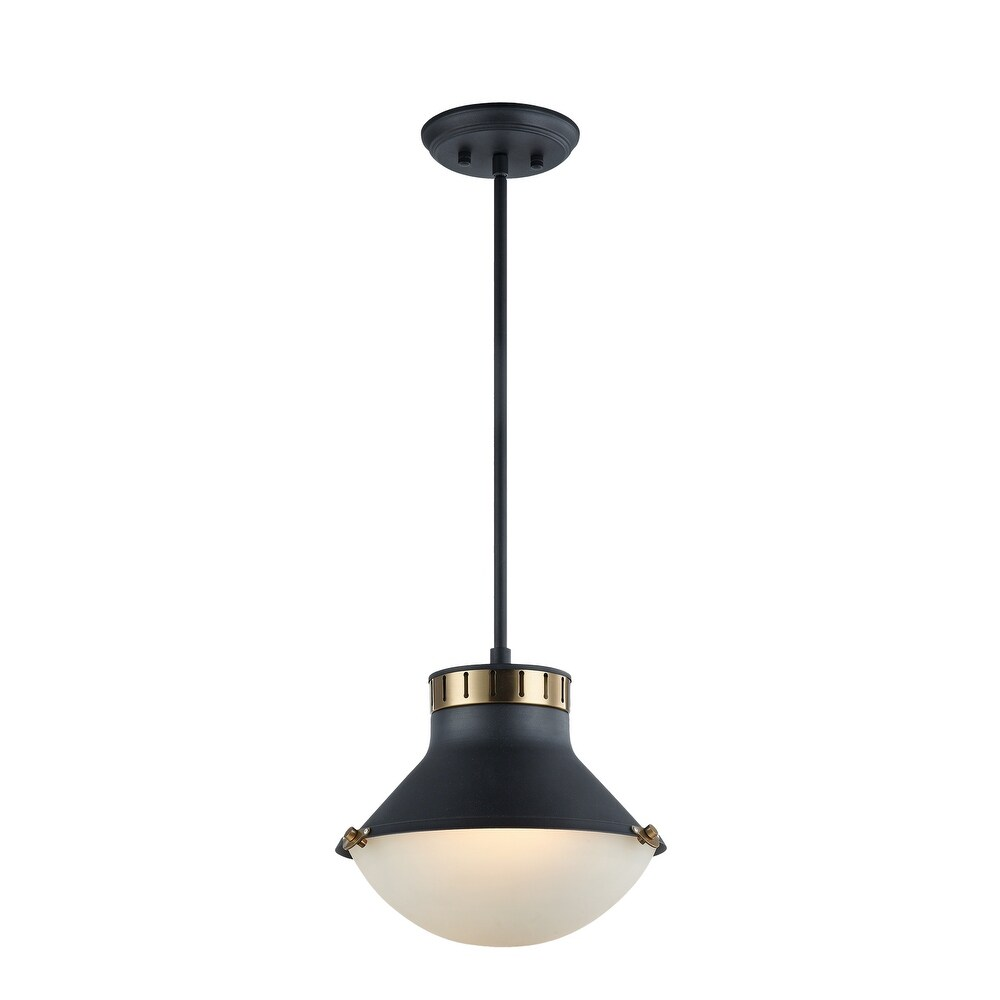 o  C66302MBAG Two Light Pendant NOTTING  Black  Gold Brass - One Size (One Size - Clear)