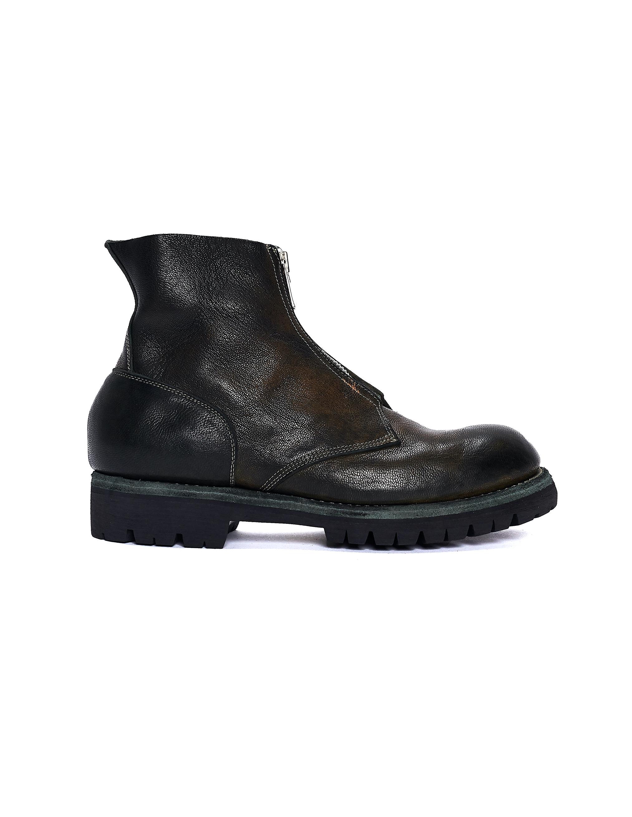 Guidi Green Leather Vibram Sole Zip Boots