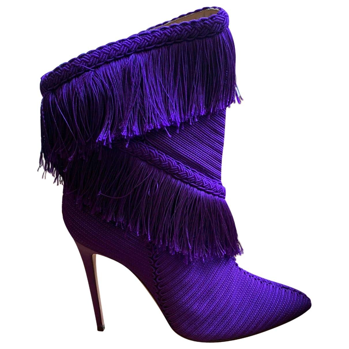 Aquazzura - Boots   pour femme en cuir - violet