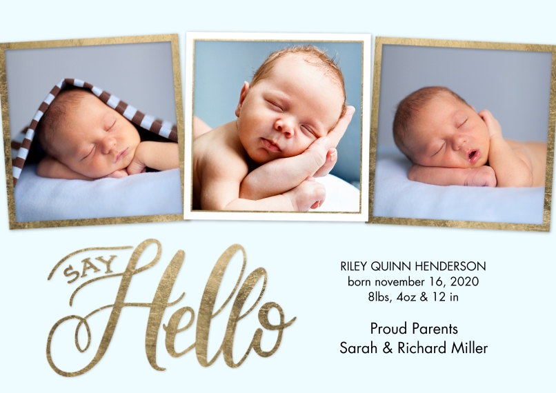 Baby Announcements 5x7 Cards, Premium Cardstock 120lb with Elegant Corners, Card & Stationery -Baby Gold Borders by Tumbalina