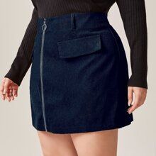 Plus O-ring Zip Corduroy Straight Skirt