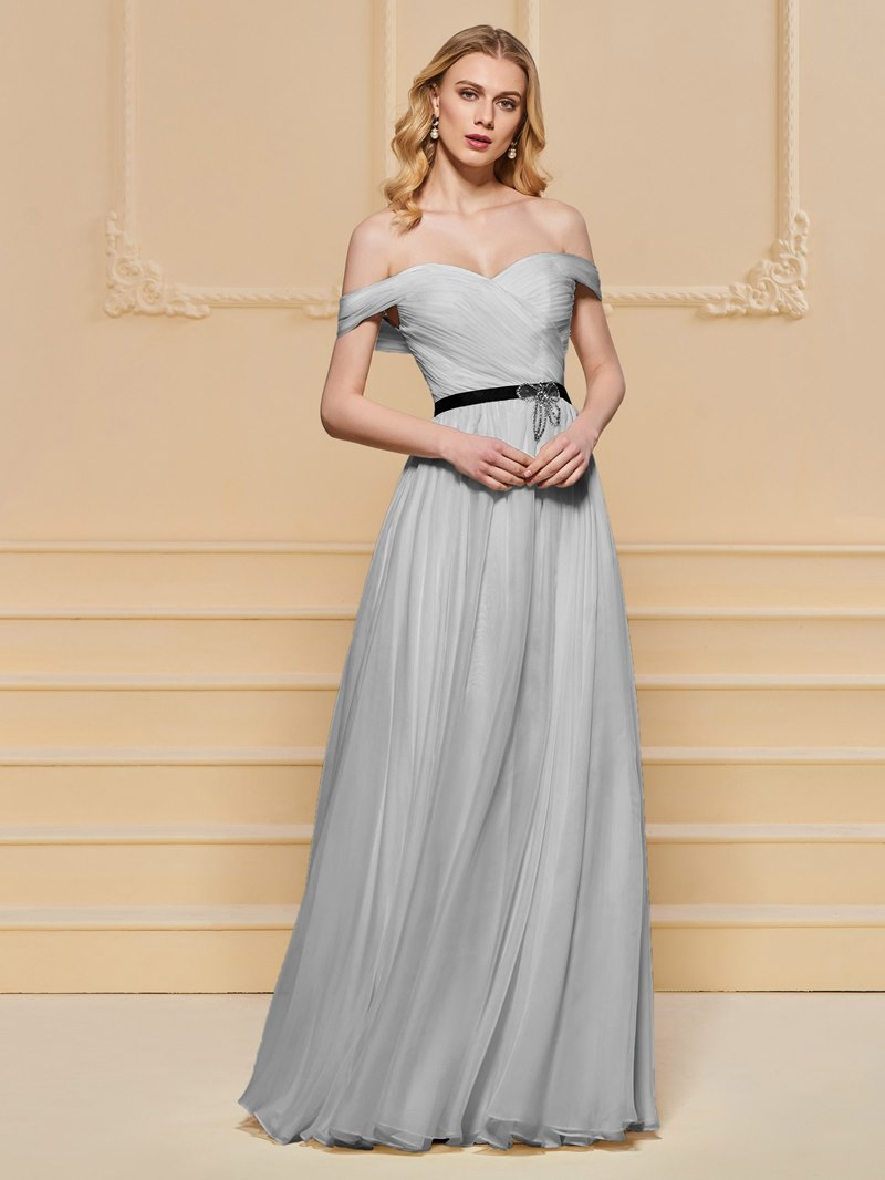 Ericdress A Line Off The Shoulder Pleats Short Sleeve Prom Dress