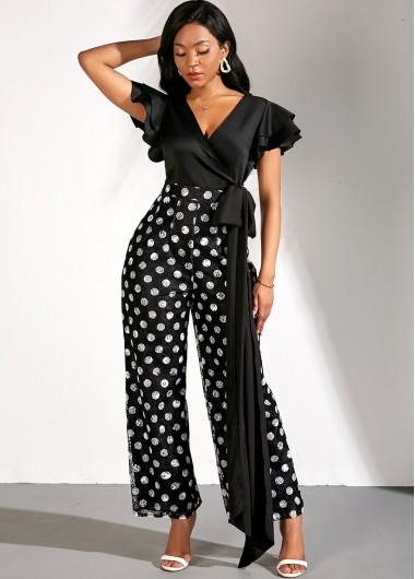 V Neck Flare Sleeve Bowknot Lace Polka Dot Print Jumpsuit - L