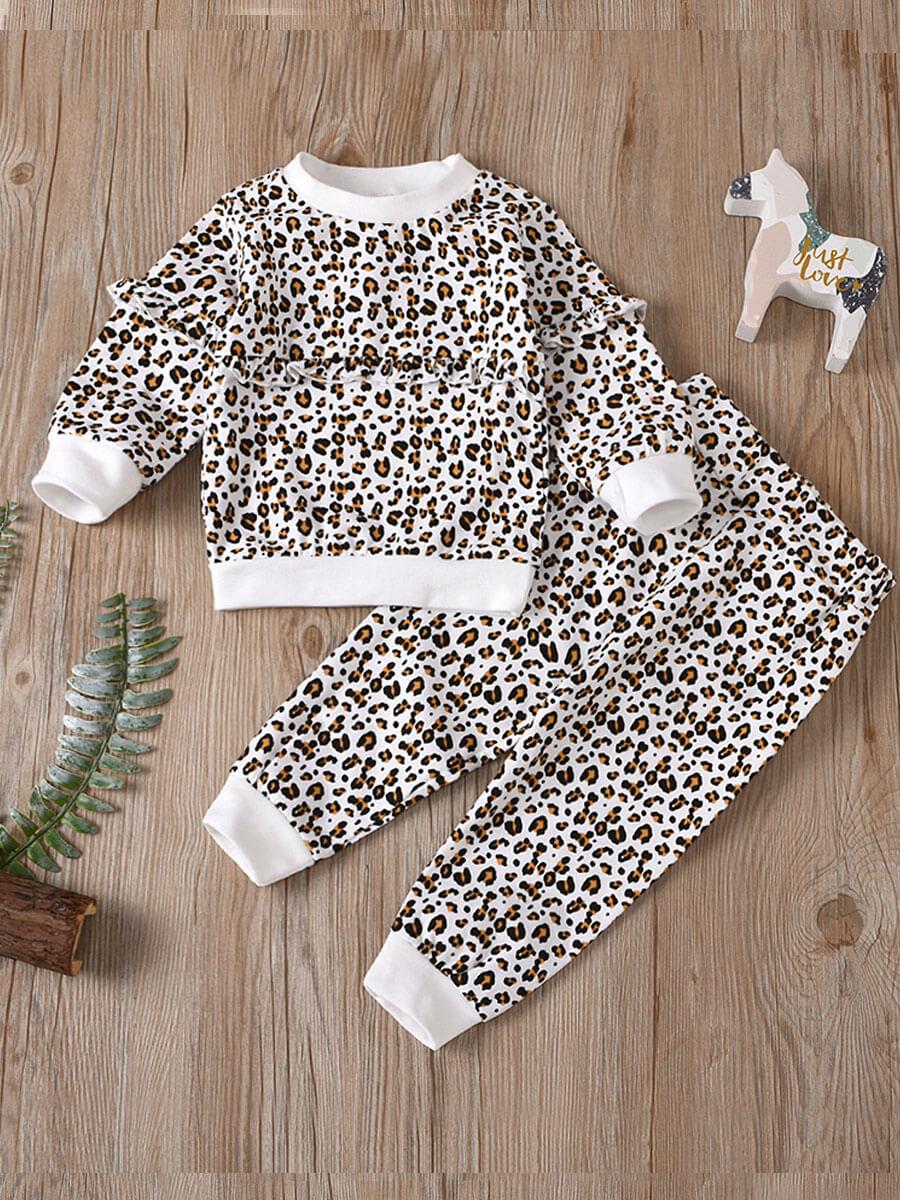 LW Lovely Trendy Flounce Leopard Print Patchwork Girl Two Piece Pants Set