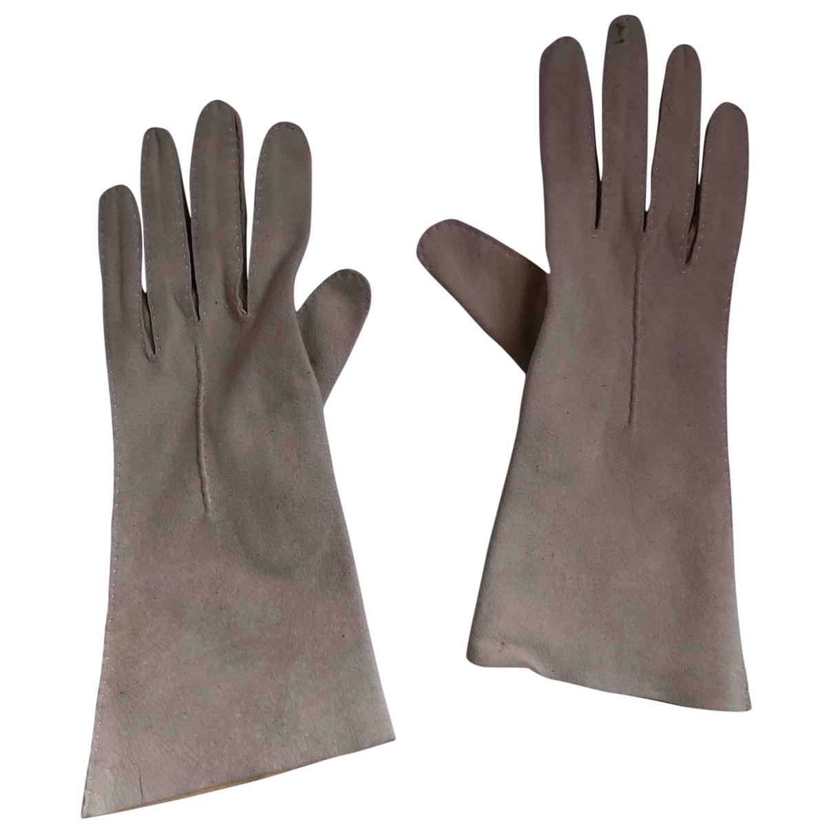 Non Signe / Unsigned \N Handschuhe in  Beige Veloursleder