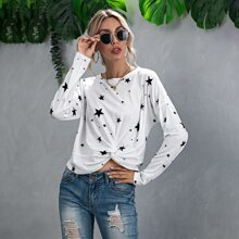 T-Shirt mit Twist am Saum und Stern Muster