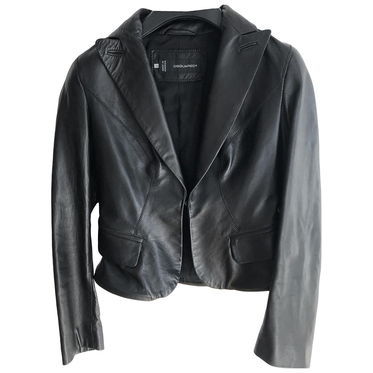 Dsquared2 - Blouson   pour femme en cuir - noir