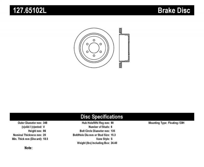StopTech 127.65102L Sport Drilled/Slotted Brake Rotor; Rear Left Ford F-150 Rear Left 2004-2011