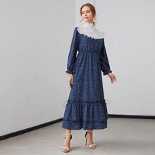 Polka Dot Frill Trim Tie Back Layered Hem Dress
