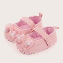Baby Girl Bow Decor Velcro Strap Flats