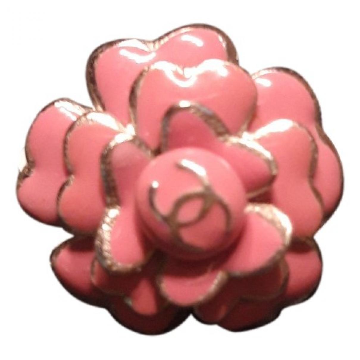 Chanel - Broche Camelia pour femme en metal - rose