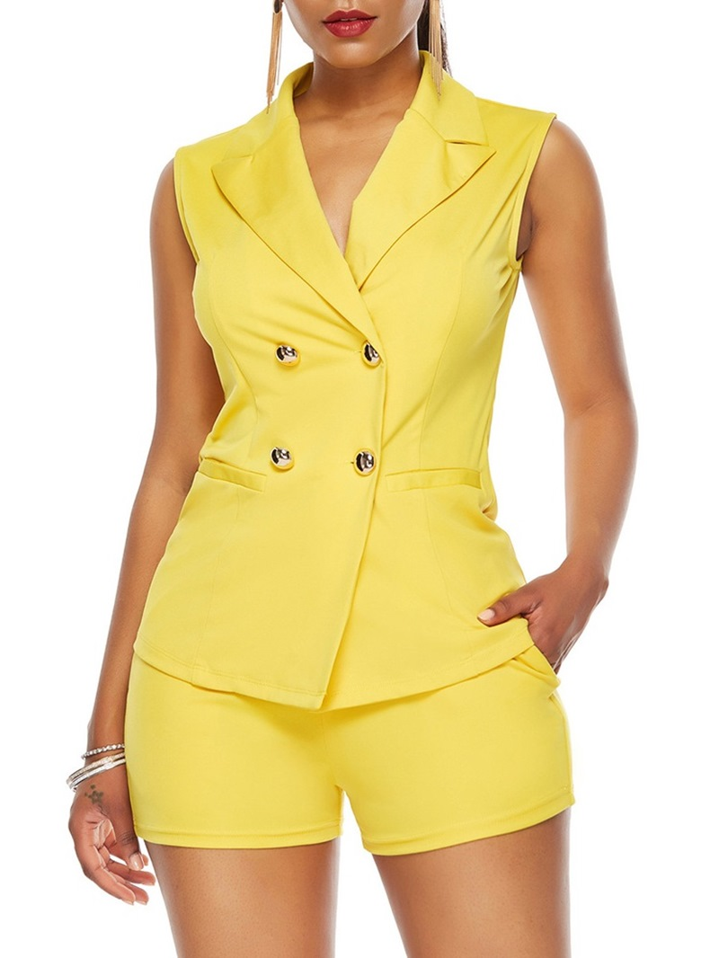 Ericdress Button Vest Fashion Notched Lapel Two Piece Sets