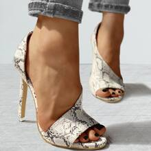 Open Toe Snakeskin Stiletto Heeled Sandals