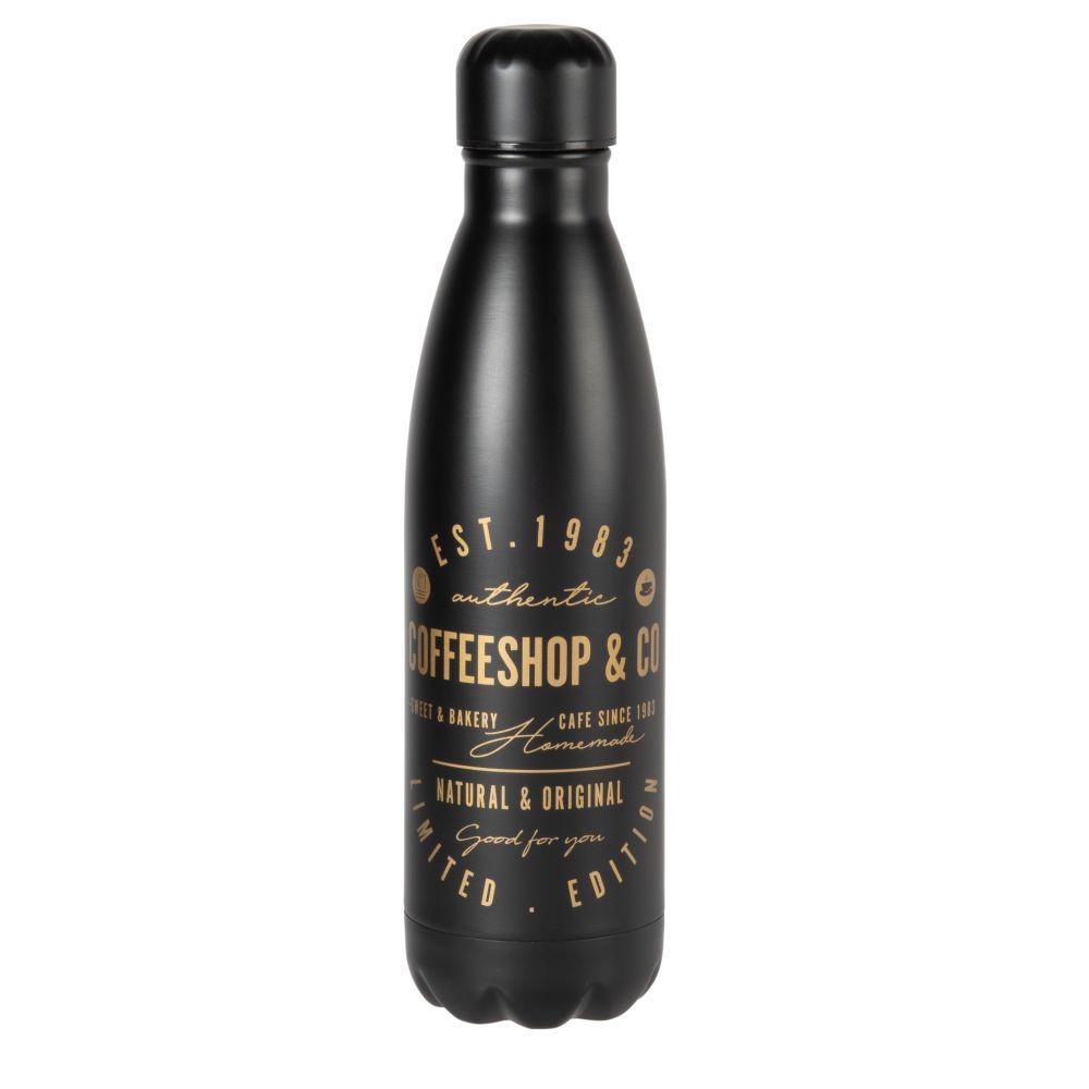 Thermosflasche aus Stahl, schwarz mit goldfarbenem Druckmotiv