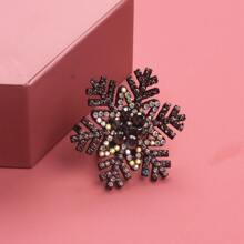 Rhinestone Snowflake Design Brooch