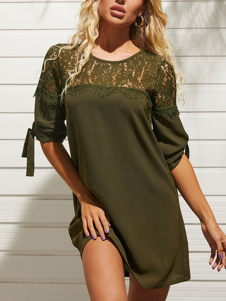 YOINS Causal Lace Patchwork Tie-up Design Half Sleeves Mini Dress