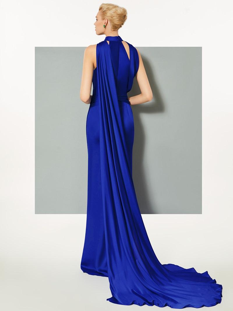 Ericdress A-Line High Neck Court Train Evening Dress With Split Side