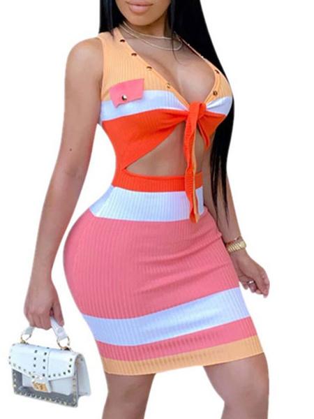 Milanoo Vestidos ajustados sexy Vestido de corte slim anudado sin mangas con cuello en V a rayas rosadas