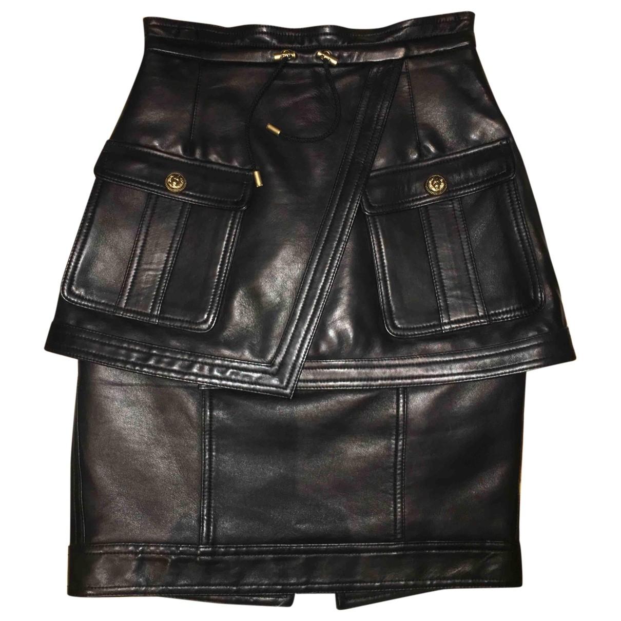 Balmain \N Black Leather skirt for Women 36 FR