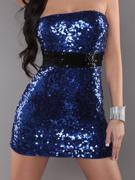 Milanoo Jazz Dance Costume Sequin Blue Bodycon Dresses Strapless Women Sexy Nightclub Wear