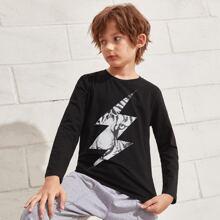 T-Shirt mit Tiger & Blitz Muster