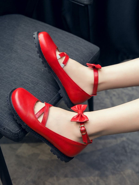 Milanoo Sweet Lolita Footwear Bows Round Toe Criss Cross Lolita Shoes