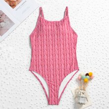 Knit Ribbed Cut-out Back One Piece Swimsuit