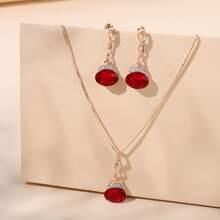 3pcs Gemstone & Rhinestone Decor Jewelry Set