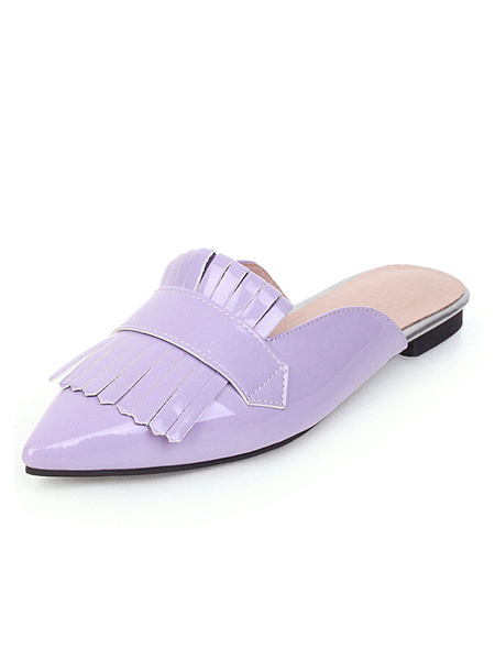 Milanoo Womens Mules Shoes Pointed Toe Falt Summer Shoes